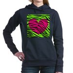 Hot Pink Green Zebra Striped Heart Women's Hooded