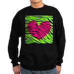 Hot Pink Green Zebra Striped Heart Sweatshirt