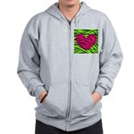 Hot Pink Green Zebra Striped Heart Zip Hoodie