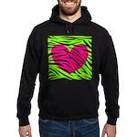 Hot Pink Green Zebra Striped Heart Hoodie