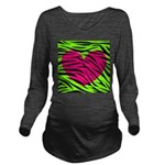 Hot Pink Green Zebra Striped Heart Long Sleeve Mat