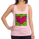 Hot Pink Green Zebra Striped Heart Racerback Tank