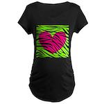 Hot Pink Green Zebra Striped Heart Maternity T-Shi