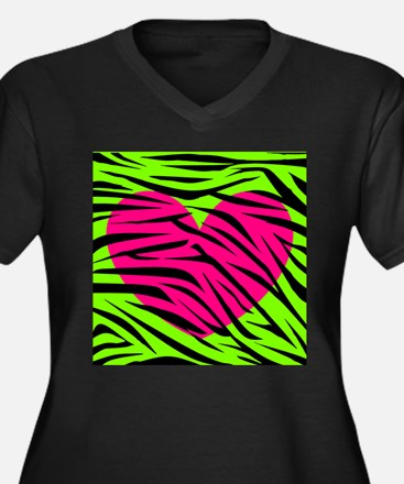 Hot Pink Green Zebra Striped Heart Plus Size T-Shi