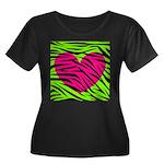 Hot Pink Green Zebra Striped Heart Plus Size T-Shi