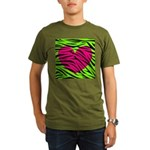 Hot Pink Green Zebra Striped Heart T-Shirt