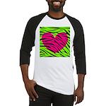 Hot Pink Green Zebra Striped Heart Baseball Jersey