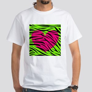 Hot Pink Green Zebra Striped Heart T-Shirt