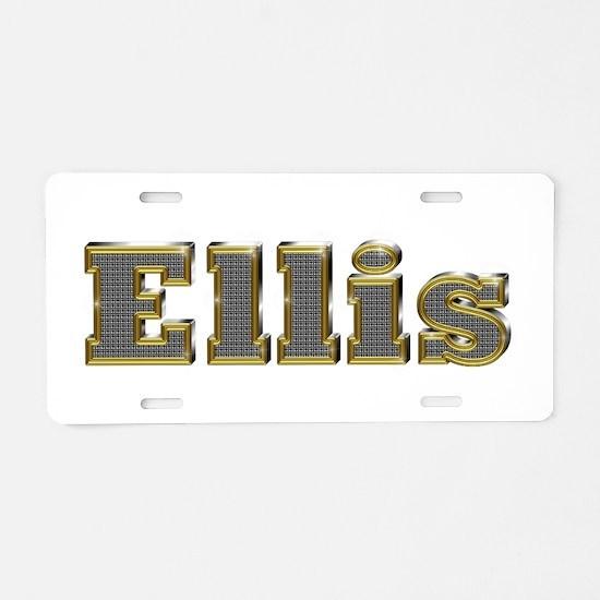 Ellis Gold Diamond Bling Aluminum License Plate