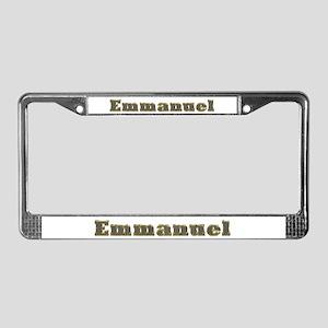 Emmanuel Gold Diamond Bling License Plate Frame