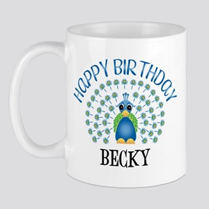 Happy birthday becky mugs cafepress happy birthday becky peacock mug altavistaventures Images
