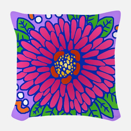 Pink Explosion Woven Throw Pillow