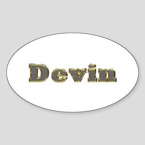 Devin Gold Diamond Bling Oval Sticker