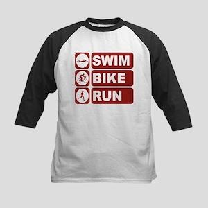 Swim Bike Run Vertical Baseball Jersey