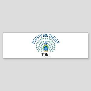 Happy Birthday TORI (peacock) Bumper Sticker