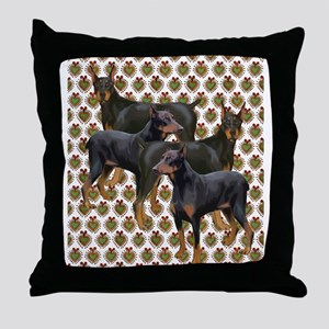doberman grouping Throw Pillow