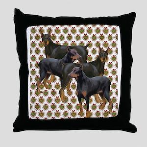 doberman grouping Throw Pillow