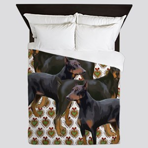 doberman grouping Queen Duvet