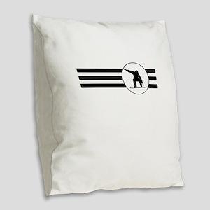 Snowboarder Stripes Burlap Throw Pillow