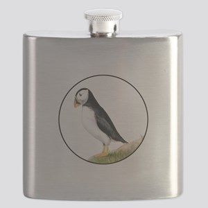Puffin Bird Painting Artwork Flask