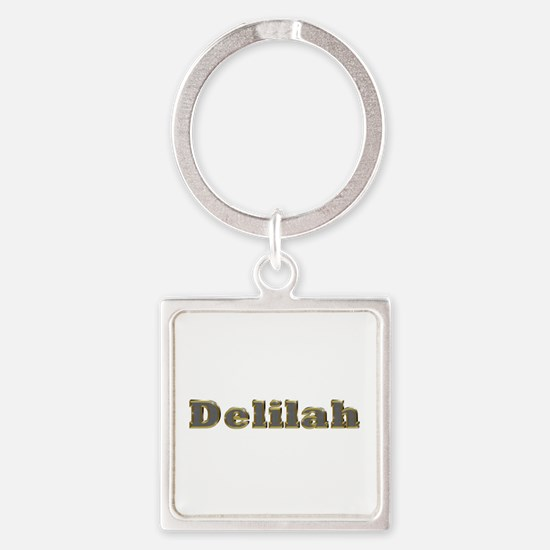 Delilah Gold Diamond Bling Square Keychain