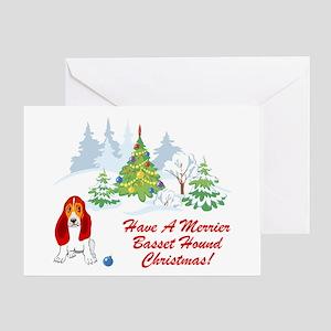Christmas Basset Hound Greeting Card