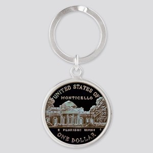 Thomas Jefferson Dollar Round Keychain
