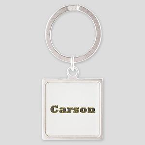 Carson Gold Diamond Bling Square Keychain