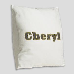 Cheryl Gold Diamond Bling Burlap Throw Pillow