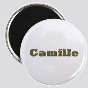 Camille Gold Diamond Bling Round Magnet