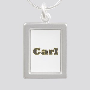 Carl Gold Diamond Bling Silver Portrait Necklace