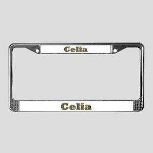 Celia Gold Diamond Bling License Plate Frame