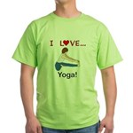 I Love Yoga Green T-Shirt