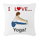 I Love Yoga Woven Throw Pillow