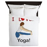 I Love Yoga Queen Duvet