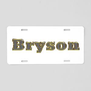 Bryson Gold Diamond Bling Aluminum License Plate