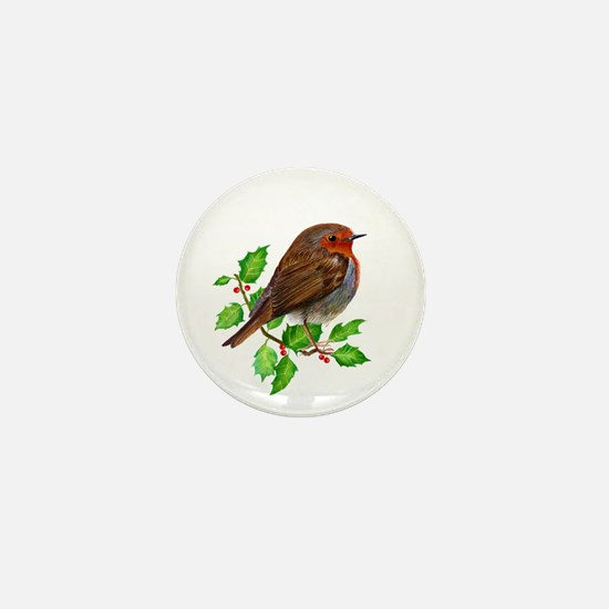 Robin Bird, Robin Redbreast, Painting Mini Button