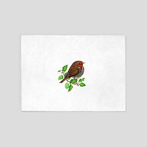Robin Bird, Robin Redbreast, Painting 5'x7'Area Ru