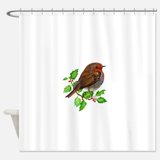 Robin Bird, Robin Redbreast, Painting Shower Curta
