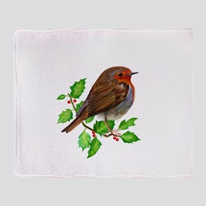 Robin Bird, Robin Redbreast, Painting Throw Blanke