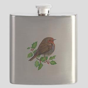 Robin Bird, Robin Redbreast, Painting Flask