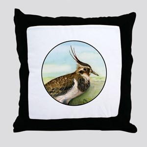 Lapwing Peewit Bird Portrait Throw Pillow