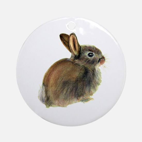 Baby Rabbit Portrait in Pastels Ornament (Round)