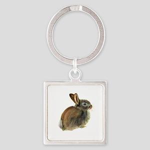 Baby Rabbit Portrait in Pastels Keychains