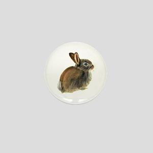 Baby Rabbit Portrait in Pastels Mini Button