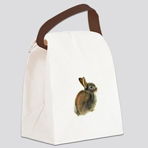 Baby Rabbit Portrait in Pastels Canvas Lunch Bag