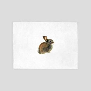 Baby Rabbit Portrait in Pastels 5'x7'Area Rug