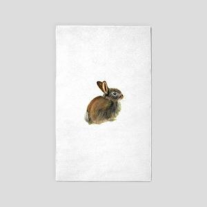 Baby Rabbit Portrait in Pastels Area Rug