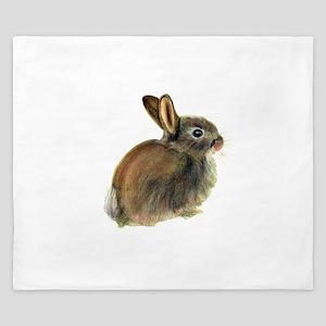 Baby Rabbit Portrait in Pastels King Duvet