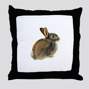Baby Rabbit Portrait in Pastels Throw Pillow